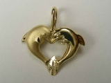 Marine Charms - Jewelry Stores - Dolphins/ Heart Charm