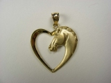Animal Charms - Jewelry Stores - Horse Head inside Heart Charm