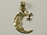 Engravable Charms - Jewelry Stores - Crescent Face with Star Charm