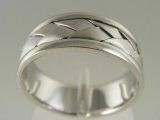 Bands and Rings - Jewelry Stores - Wide Weaving Style Wedding Band 7 mm