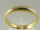 Bands and Rings - Jewelry Stores - Milgrain Edges, Two Tones (White and Yellow) Gold Wedding Band 3.5 mm