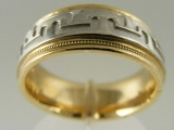 Bands and Rings - Jewelry Stores - Greek Style, Two Tones (White and Yellow) Gold Wedding Band 7.5 mm