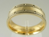 Bands and Rings - Jewelry Stores - Yellow Gold With White Gold Sides Wedding Band 6 mm