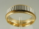 Bands and Rings - Jewelry Stores - Milgrain Edges, Two Tones (White and Yellow) Gold Wedding Band 7 mm
