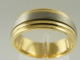 Bands and Rings - Jewelry Stores - Brush Polished, Middle Spin, Two Tones (White and Yellow) Gold Wedding Band 7 mm