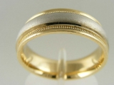 Bands and Rings - Jewelry Stores - Brush Polished Middle Bar, Milgrain Edges, Two Tones (White and Yellow) Gold Wedding Band 7 mm