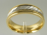 - Jewelry Stores - Milgrain Edges, Two Tones (White and Yellow) Gold Wedding Band 7 mm