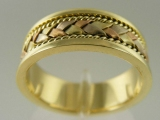- Jewelry Stores - Middle Bar Weaving, Tri-Color (White, Yellow, Rose) Gold Weaving Style Wedding Band 7 mm