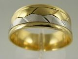 Bands and Rings - Jewelry Stores - Two Tones (White and Yellow) Gold Wedding Band 7 mm