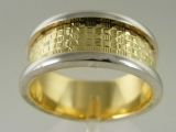 Bands and Rings - Jewelry Stores - Two Tones (White and Yellow) Gold Wedding Band 8 mm