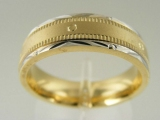 Bands and Rings - Jewelry Stores - Two Tones (White and Yellow) Gold Wedding Band 6 mm