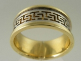 - Jewelry Stores - Greek Style Middle Bar, Two Tones (White and Yellow) Gold Wedding Band 8.5 mm