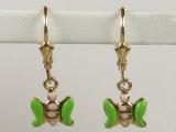 Baby Earrings - Jewelry Stores - Butterfly Baby Earrings Lever Back