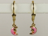 Baby Earrings - Jewelry Stores - Pink Crescent Baby Earrings Lever Back