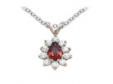 Ruby Pendant - Jewelry Stores - Genuine 11-Stone Pear Cluster Red Ruby Pendant