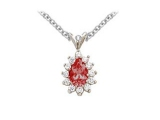 Ruby Pendant - Jewelry Stores - Genuine 13-Stone Pear Cluster Red Ruby Pendant