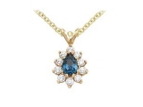 Sapphire Pendant - Jewelry Stores - Genuine 11-Stone Pear Cluster Blue Sapphire Pendant