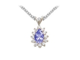 Sapphire Pendant - Jewelry Stores - Genuine 13-Stone Pear Cluster Blue Sapphire Pendant