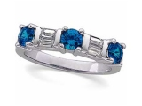 Sapphire Rings - Jewelry Stores - Accented Sapphire and Diamond Baguette Ring