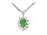Emerald Pendant - Jewelry Stores - Genuine 13-Stone Oval Cluster Green Emerald Pendant