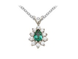 Emerald Pendant - Jewelry Stores - Genuine 11-Stone Pear Cluster Green Emerald Pendant
