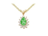 Emerald Pendant - Jewelry Stores - Genuine 13-Stone Pear Cluster Green Emerald Pendant