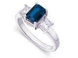 3 Stone Sapphire Ring - Jewelry Stores - Genuine Blue Sapphire and Diamond 3 Stone Bridal Ring