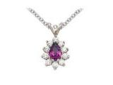 Tanzanite Pendant - Jewelry Stores - Genuine 11-Stone Pear Cluster Purpule Tanzanite Pendant