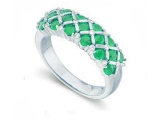Emerald Rings - Jewelry Stores - Genuine Green Emerald and Diamond Ring