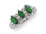 Emerald Rings - Jewelry Stores - Genuine Emerald and Diamond Anniversary Ring