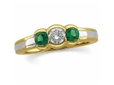 3 Stone Emerald Ring - Jewelry Stores - 3 Stone Aniversary Diamond and Emerald Ring