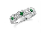 Emerald Rings - Jewelry Stores - Genuine Green Emerald and Diamond Band