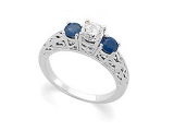 3 Stone Sapphire Ring - Jewelry Stores - 3 Stone Diamond and Sapphire Engagement Ring