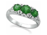 3 Stone Emerald Ring - Jewelry Stores - Genuine Emerald 3 Stone Ring