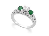 3 Stone Emerald Ring - Jewelry Stores - 3 Stone Diamond and Emerald Engagement Ring