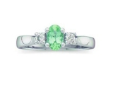 3 Stone Emerald Ring - Jewelry Stores - Genuine Green Emerald and Diamond 3 Stone Ring