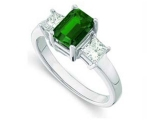 3 Stone Emerald Ring - Jewelry Stores - Genuine Green Emerald and Diamond 3 Stone Bridal Ring