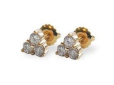 Diamond Earrings - Jewelry Stores - 3 Stone Diamond Cluster Earrings