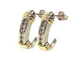 Diamond Earrings - Jewelry Stores - Diamond Fashion J-Hoop Two-Tone Earrings
