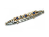 Sapphire Bangles - Jewelry Stores - 5 Stone Diamond and Sapphire Two-tone Gold Accented Bangle