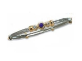 Sapphire Bangles - Jewelry Stores - Three Stone Diamond and Sapphire Two-tone Bangle