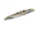 Sapphire Bangles - Jewelry Stores - Three Stone Diamond and Sapphire Two-tone Gold Accented Bangle
