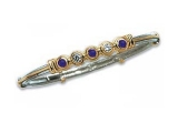 Sapphire Bangles - Jewelry Stores - Five Stone Diamond and Sapphire Two-tone Bangle