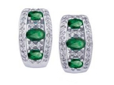 Emerald Earrings - Jewelry Stores - Genuine Green Emerald and Diamond Earrings
