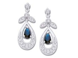 Sapphire Earrings - Jewelry Stores - Genuine Blue Sapphire and Diamond Earrings