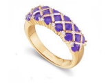 Tanzanite Rings - Jewelry Stores - Genuine Purpule Tanzanite and Diamond Ring
