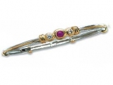 Jewels But Jewels - Jewelry Stores - Three Stone Diamond and Tanzanite Two-tone Gold Accented Bangle