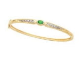 Emerald Bangles - Jewelry Stores - Emerald and Diamond Accent Bangle Bracele