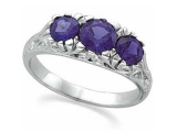 3 Stone Tanzanite Rings - Jewelry Stores - Genuine Tanzanite 3 Stone Ring