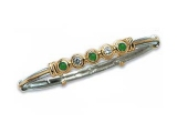 Emerald Bangles - Jewelry Stores - 5 Stone Diamond and Emerald Two-tone Gold Accented Bangle